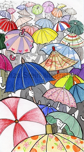 Eliza Stein Illustration Prepare for Rain umbrella sketch