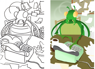 Colors and Line Art for Typing Bug Illustration by Eliza Stein