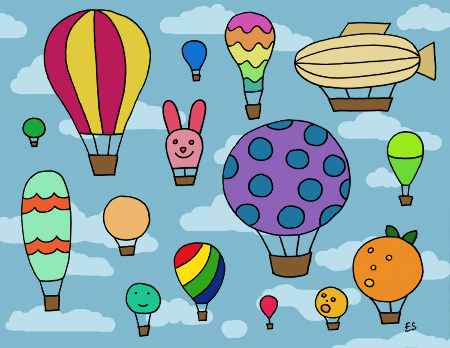 Hot Air Balloons Illustration by Eliza Stein