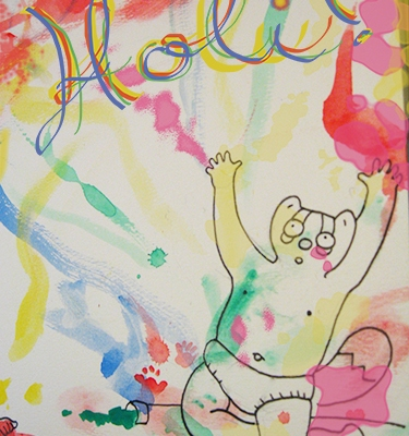 Holi Sketch by Eliza Stein Illustration