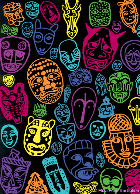 Neon Masks Illustration by Eliza Stein