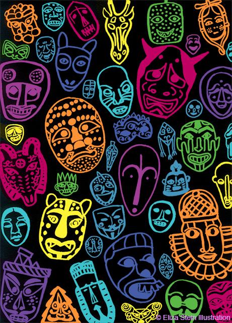 Neon Masks Illustration by Eliza Stein