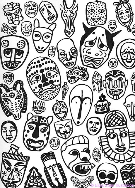 Black and White Masks by Eliza Stein