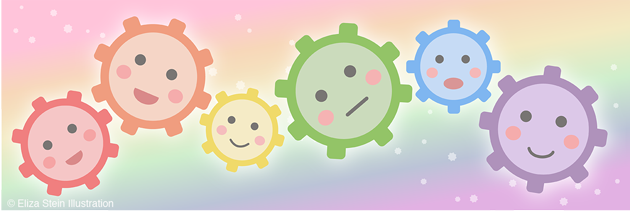 Rainbow Kawaii Gears by Eliza Stein