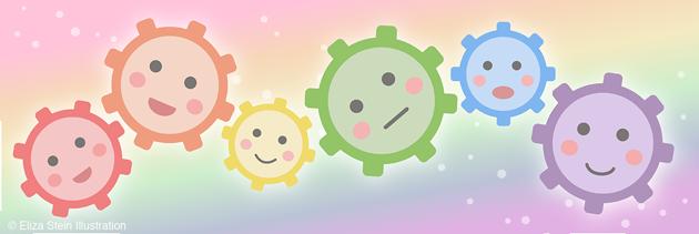 Rainbow Kawaii Gears by Eliza Stein