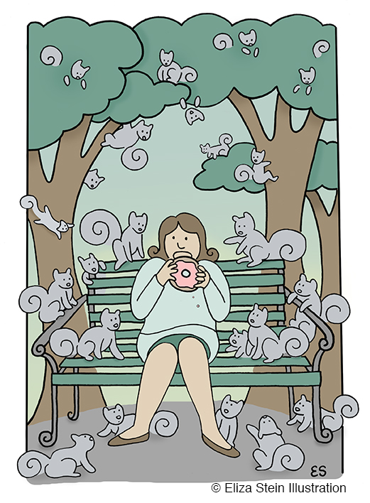 Girl and Squirrels Illustration